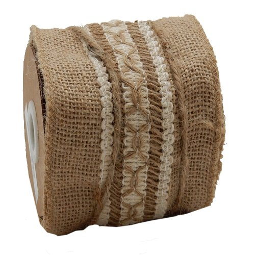 Green Pastures Wholesale Ribbon, 4-Inch by 3-Yard, Brown Burlap
