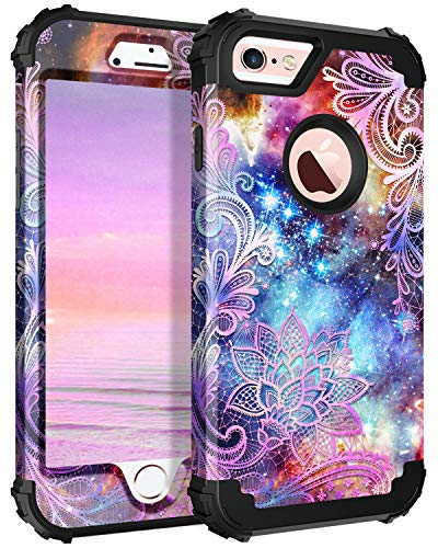 Casetego Compatible iPhone 6S Plus Case,iPhone 6 Plus Case,Floral Three Layer Heavy Duty Hybrid Sturdy Armor Shockproof Protective Cover Case for Apple iPhone 6S Plus/6 Plus,Purple Mandala