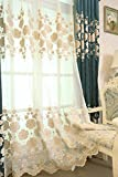 Living Room Embroidered Floral Sheer Window Curtain Panels Rod Pocket Luxury European Voile Curtains 84 Inches Long Embossed Pearls Natural Light Flow Curtains for French Door 1 Panel W39 x L96 inch For Sale