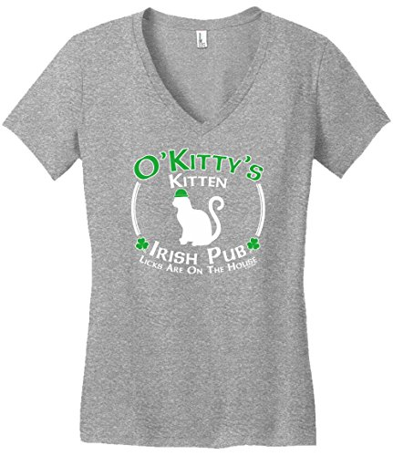 St Patricks Day Accessories St Patricks Day Cat Kitty Kitten Irish Pub Sign Juniors Vneck Large LtHtr