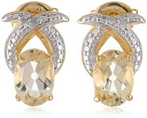18k Yellow Gold Plated Sterling Silver Two-Tone Citrine Crossover Oval Stud Earrings from PAJ, Inc