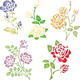 "Rose Set Stencil - (size 5""w x 5""h) Reusable Wall Stencils for Painting - Best Quality Decor Ideas - Use on Walls, Floors, Fabrics, Glass, Wood, and More…"