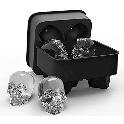 Ice Cube Trays Silicone, 3D Skull Ice Cube Mold Flexible Food Grade Ice Cube Chocolate Candy Mold Trays Gifts