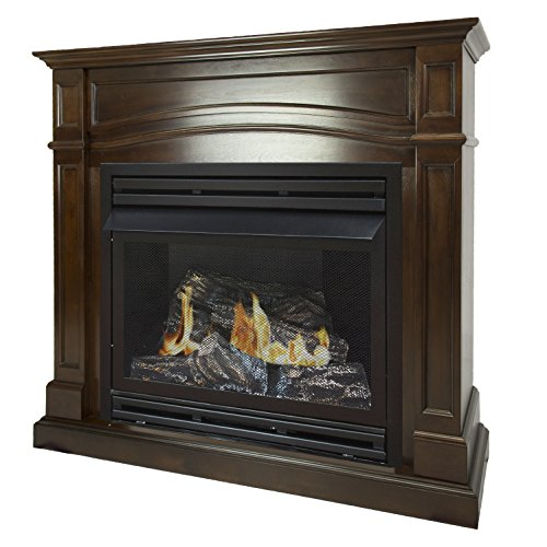 Pleasant Hearth 46 Full Size Cherry 32,000 Liquid Propane Vent Free Fireplace System 32K BTU, Rich