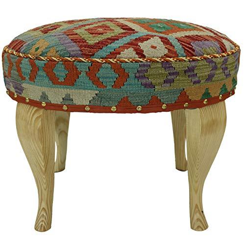 Arshs Eaves Rust/Green Kilim Upholstered Handmade Ottoman (Upholstered Furniture Kilim)