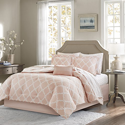 Madison Park Essentials Merritt Twin Size Bed Comforter Set Bed In A Bag - Blush, Geometric – 7 Pieces Bedding Sets – Ultra Soft Microfiber Bedroom Comforters - Madison Twin Comforter