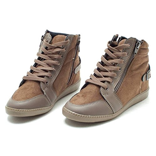 EpicStep Women's Casual Suede High Tops Zip Lace Up Hidden Wedges Fashion Sneakers Shoes Beige sale looking for discount authentic online uRC8kp