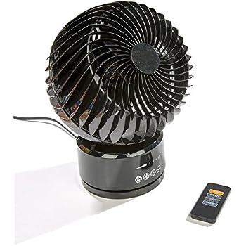 "Comfort Zone 6"" Digital Oscillating Remote Globe Fan, Black"