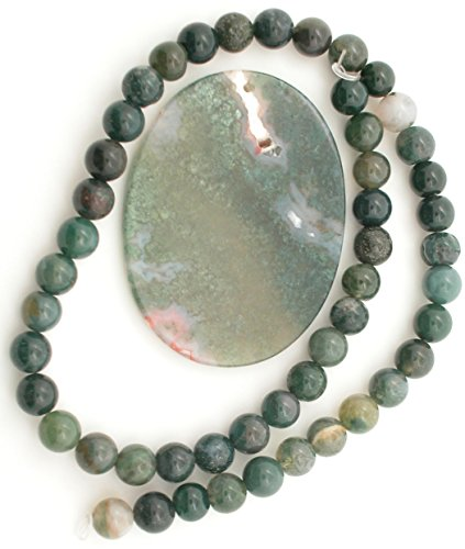 Genuine Moss Agate BIG Oval Pendant Bead with 16