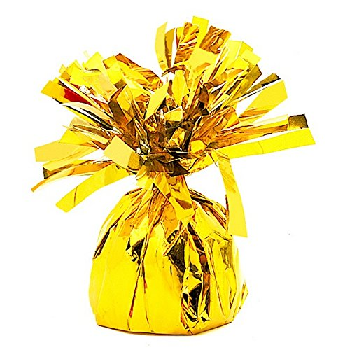 - Unique Party Foil Tassels Balloon Weights (Pack of 6) (One Size) (Gold)