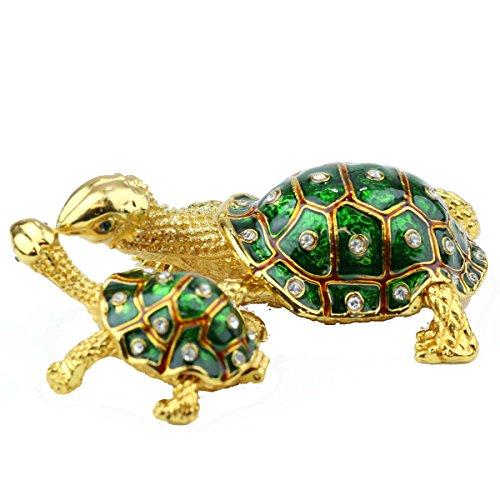 [NEW] Jewelry Trinket Box Figurine Case Vintage Collectible for Keepsake Art Decor Holder Organizer, Magnet Secured Storage w/ Swarovski Crystals ( Dolphin / Turtle / Fish ) (Turtles - Green)
