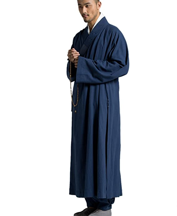 ZanYing Men\'s Long Gown Traditional Buddhist Meditation Monk Robe at ...