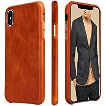 iPhone X Case Leather Genuine, iPhone 10 Leather Case TOOVREN Microfiber Lining Protective iPhone X Case Cover Slim Fit Vintage Shell Hard Back Cover for Apple iPhone X (2017) Brown