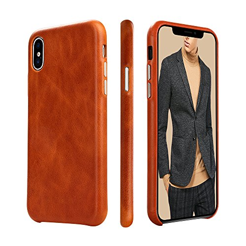 iPhone X Case Leather Genuine, iPhone 10 Leather Case TOOVREN Microfiber Lining Protective iPhone X Case Cover Slim Fit Vintage Shell Hard Back Cover for Apple iPhone X (2017) (Apple Iphone Genuine Leather)