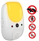 CravegreensPest Repeller - Electronic ultrasonic deterrent for inside your home, features relaxing amber night light - effective sonic defense repellant keeps roaches mosquitoes mice bugs away (White)