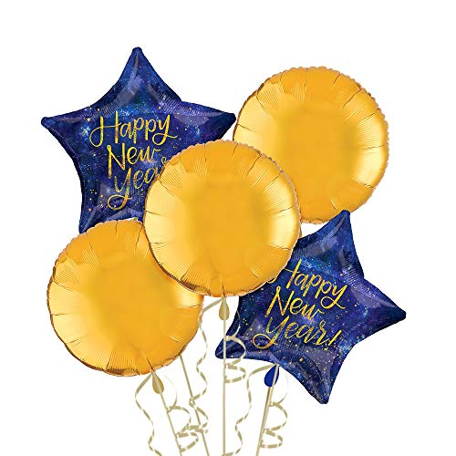 Party City Midnight New Year's Eve Balloon Kit, Party Supplies, Blue and Gold, Includes Balloons and Curling Ribbon -