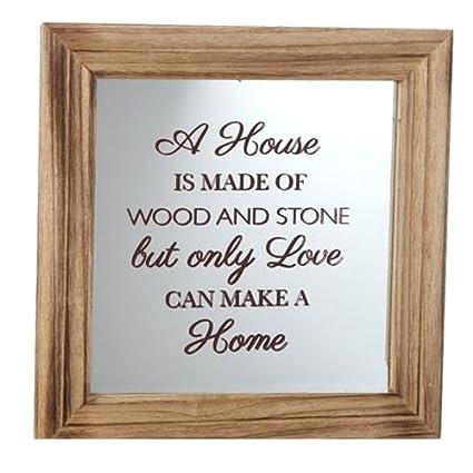 Miroir Avec Cadre En Bois Style Shabby Chic Inscription Home Plaque