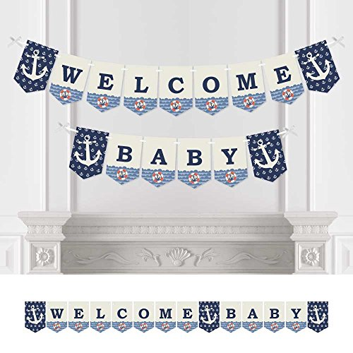 Big Dot of Happiness Ahoy - Nautical - Baby Shower Bunting Banner - Anchor Party Decorations - Welcome Baby -