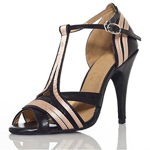 YFF Geschenk Frauen tanzen Schuhe Ballroom Latin Dance tango Tanzschuhe 8.5cm Black