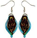 Murano-style Glass Aqua Blue Twisted Leaf Earrings