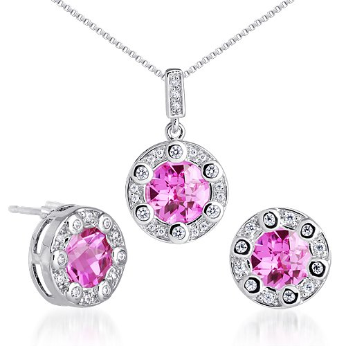 - Created Pink Sapphire Pendant Earrings Set Sterling Silver Rhodium Nickel Finish Round Shape 7.75 Carats