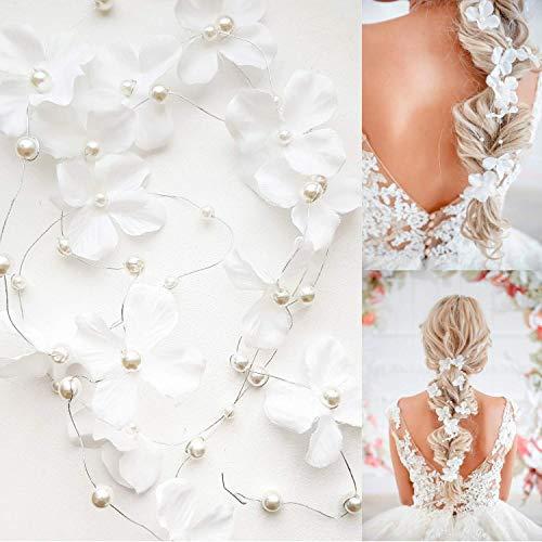 Dalina Wedding Hair Accessories for Bride and Bridesmaid - Bridal Flower Hair Vine Long Bridal Headband (120cm / 47 inches) - Set of 2 Vines.