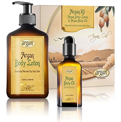 Dry Itchy Sensitive Skin Body Kit – Advanced  Herbal Oils Blend - Moroccan Argan Body Moisturizer Renew Lotion 13.5 oz and Body Serum 3.4 oz Moisturizing Combo Set