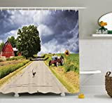 Ambesonne Rural Decor Shower Curtain, Farmhouse on Country Road with Barn and Tractor on Side in Stormy Day Picture, Fabric Bathroom Decor Set with Hooks, 70 Inches, Multicolor