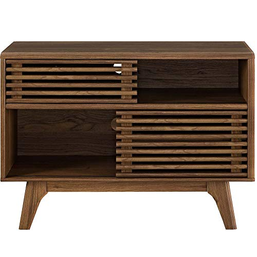 (Modway Render Mid-Century Modern Two-Tier Display Stand in Walnut)