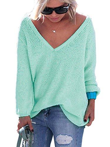 Maglione Manica Scollo Elevesee Inverno Donna Moda Casual V Eleganti Solido Pullover Sweater Autunno Verde Maglie Sportiva Sciolto Outerwear Lunga rqWqzA0wR