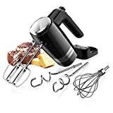 SHARDOR Upgraded Electric 2 x 5-Speed Hand Mixer 300 Ultra Power Heavy Duty Motor, with Beaters, Dough Hooks, Pro Whisks and a Storage Case, for Chef, Baker, Housewife and so on, Black(HM216B)