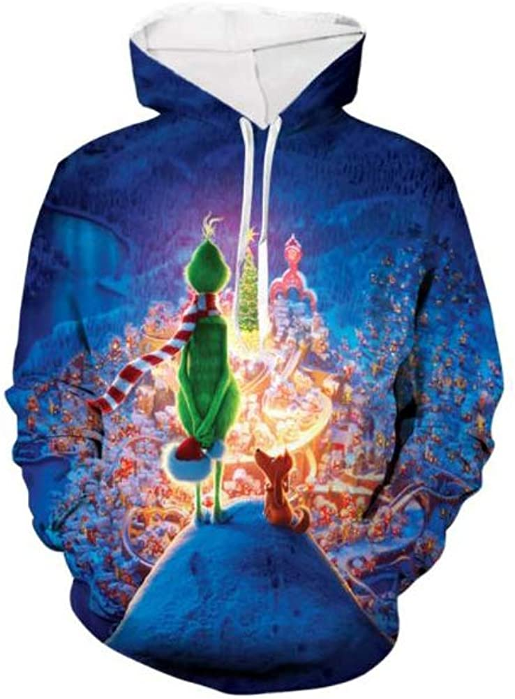 ETEBAS The Grinch Stole Christmas Green Monster 3D Printed Funny Pullover Hoodie Sweatshirt with Pocket