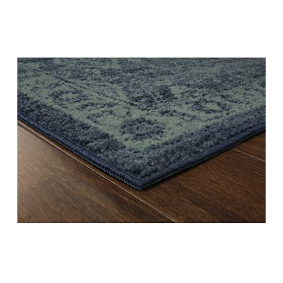 Maples Rugs Georgina Traditional Runner Rug Non Slip Hallway Entry Carpet [Made in USA], 2 x 6, Navy Blue/Green - 2 x 6 Hallway Runner Rug - Traditional Border style with rich, dual-colored design. An elegant and classic addition to different types of furniture and rooms. Timeless Design with 100% Nylon Pile for Added Durability and Fade Resistance 0.44 Inch Pile Height, Low Profile to be Placed in Any Setting. Easy Care and Machine Washable - runner-rugs, entryway-furniture-decor, entryway-laundry-room - 516NQ94DYOL. SS570  -