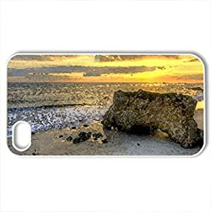 Beautiful Sunset And Place - Case Cover for iPhone 4 and 4s (Beaches Series, Watercolor style, White)