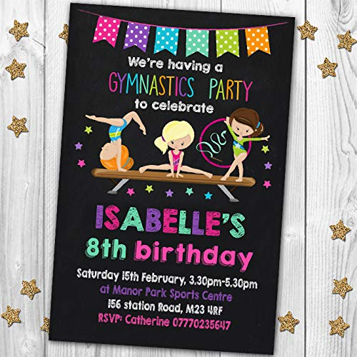 10 Gymnastics Gym Personalised Birthday Party Invitations Invites