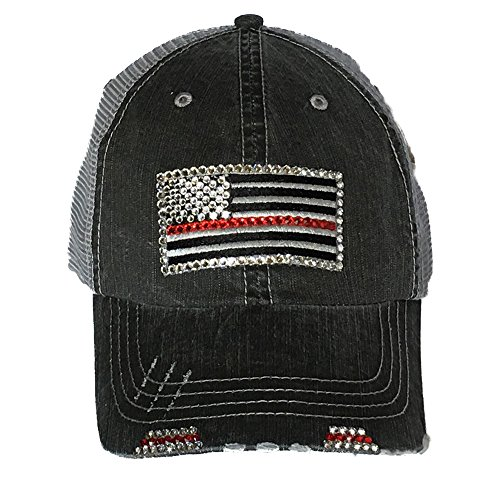 Cap Cotton Swarovski (Thin Red Line Flag Bling Baseball Cap Distressed Trucker Swarovski (Gray Denim Trucker))