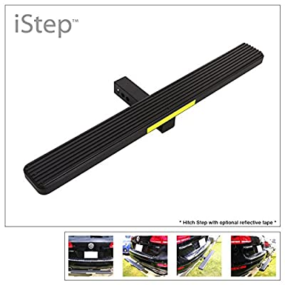 "APS iStep Universal 36"" Black Aluminum Rear 2"" Class 3 Hitch Mounting Step Hitchstep Rear Roof Rack Bumper Guard Protector: Automotive"