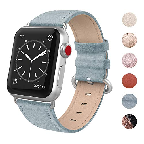 SWEES Leather Bands Compatible for iWatch 38mm 40mm, Genuine Leather Retro Vintage Replacement Strap Compatible iWatch Series 4, Series 3, Series 2, Series 1, Sports & Edition, Retro Baby Blue