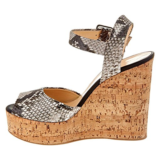 Donna L Sandali amp; Cozy Wedge yc Carriera Office A fibbie Da Peep Toe Heel 44tgpxwn