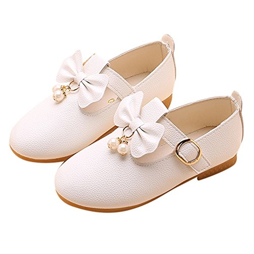 HOSOME Girls Shoes Solid Leather Bowknot Pearl Princess Single Casual Shoes ()