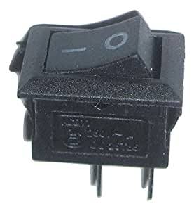 Rocker Switch Black 2 Pin On Off SPST AC 125V 6A, AC 250V 3A 8.5x13.5mm, 1 Piece