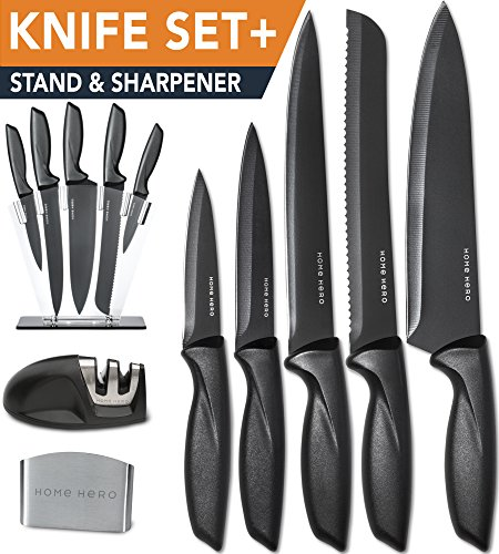 [Premium] Knife Set with Sharpener and Block [Plus Bonus Finger Guard] - 5 Stainless Steel Kitchen Knives - Professional Cutlery Sets by HomeHero