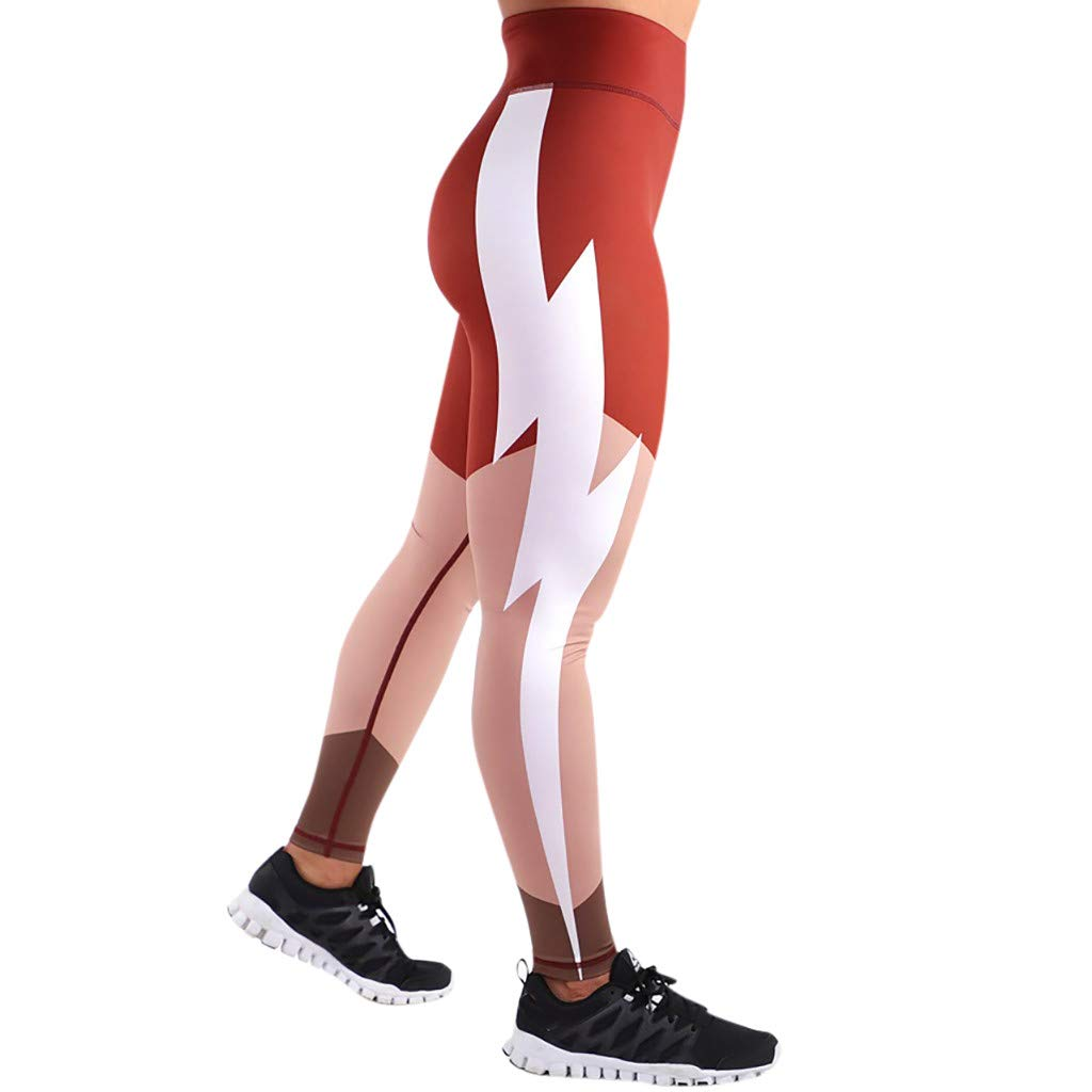 CapsA Yoga Leggings for Women Lightning Print Stitching Red Sweatpants Workout Fitness Sports Running Athletic Pants