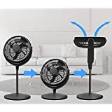 Energy Efficient Pedestal 12-inch Quiet 3 speed Floor Fan Adjustable Height – Whole Room Air Circulator