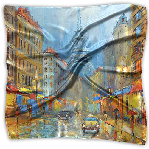 (Square Satin Headscarf Paris Night ARTISTIC SIGNED PRINT Silk Like Lightweight Hair Wrapping Neck Square Scarfs Large)