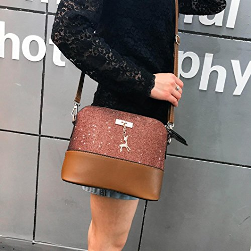Crossbody Fami Marrone Bag Splice Messenger Leather Bag shoulder Women Bag Fashion Tote Sequined bag Shoulder Handbag Blu AgwqAn4P