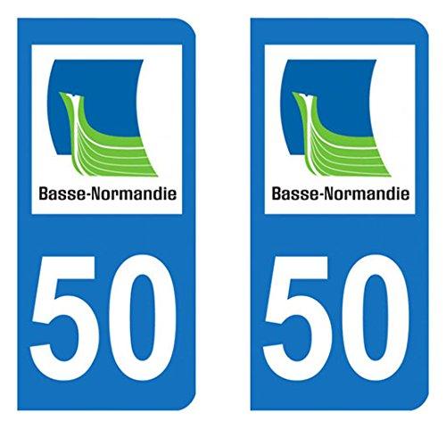 Paire Sticker immatriculation 50 - Manche Autocollant-immatriculation