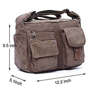ENKNIGHT Women Shoulder Bags Casual Handbag Travel Canvas Bag Messenger Sling Bag Black