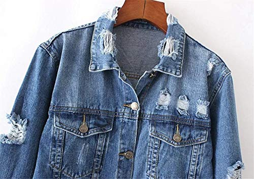 Outerwear Cavo Glamorous Autunno Strappato Vintage Cappotto Lunga Primaverile Giacche Casual Semplice Baggy Da Bavero Giacca Eleganti Denim Donna Jeans Blu Manica XwvqTaxY