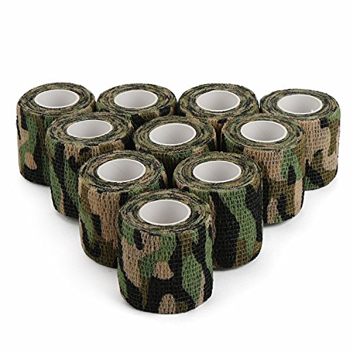 Camo Hunting Cohesive Bandage Wrap, DROK 10pcs 2.0in 4.92 yds 14.76ft Multifunctional Wetland Camouflage Protective Tape, Flexible Nonwoven Fabric Hunting Decor Tape for Covering Hunting Knife Handle